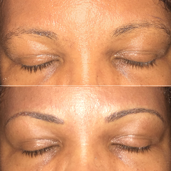 3D Eyebrow Embroidery Before and After